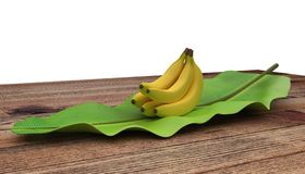 Group of bananas placed on banana leaf. On wooden table. Isolated on white background. stock photo