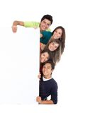 Group with a banner Royalty Free Stock Photos