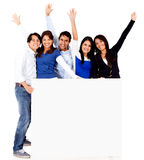 Group with a banner Royalty Free Stock Photography