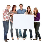 Group with a banner Stock Photography