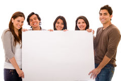 Group with a banner ad Royalty Free Stock Photography