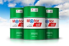 Group of barrels with motor oil lubricant against blue sky. Creative abstract automotive industry and auto repair service and maintenance concept: 3D render Stock Photography