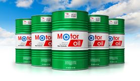 Group of barrels with motor oil lubricant against blue sky. Creative abstract automotive industry and auto repair service and maintenance concept: 3D render royalty free illustration