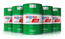Group of barrels with motor oil lubricant isolated on white back. Creative abstract automotive industry and auto repair service and maintenance concept: 3D stock illustration
