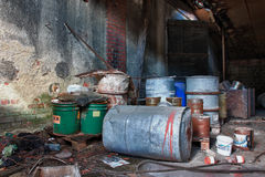 Group of barrels with toxic waste Royalty Free Stock Image