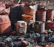 Group of barrels with toxic waste Royalty Free Stock Photography