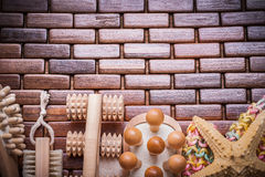 Group of bathing articles on textured wooden table mat healthcar Royalty Free Stock Photo