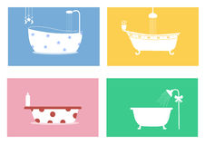 Group of bathtubs,Vector illustrations Stock Photo