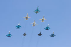 Group of battle-planes. Large group of battle-plane over  blue sky Royalty Free Stock Images