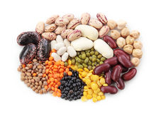 Group of beans and lentils Stock Photo