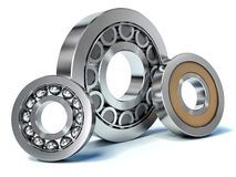 Group of bearings isolated on white background 3D Stock Photos
