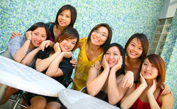 Group Of Beautiful Asian Girl Outdoor Stock Photo