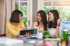 Girl talk. Group of beautiful Asian girls meeting and fun talk Royalty Free Stock Photography