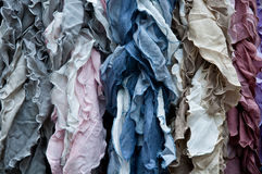 Group of beautiful colored scarves in cotton and wool Stock Image