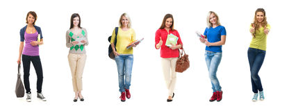 Group of beautiful female students on isolated background Stock Image