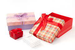 Group of beautiful gift box with bows Stock Photos