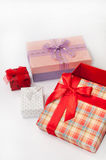 Group of beautiful gift box with bows Stock Photo