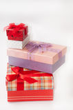 Group of beautiful gift box with bows Royalty Free Stock Photography