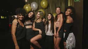 Multi-ethnic women friends enjoying at the party stock footage