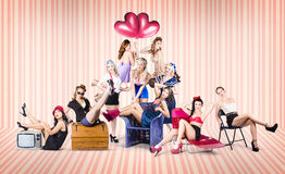 Group of 10 beautiful pinup girls in retro fashion Royalty Free Stock Photography