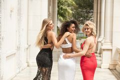 Group of beautiful ladies in elegant dresses at sunny summe. Group of beautiful ladies wearing elegant dresses. Girls having fun together, smiling. Two blonde stock photo