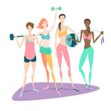 Group of Beautiful smiling young women standing holding fitness. Vector illustration Group of Beautiful smiling young women standing holding fitness dumbbel Royalty Free Stock Photography
