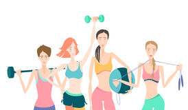 Group of Beautiful smiling young women standing holding fitness Stock Photo