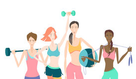 Group of Beautiful smiling young women standing holding fitness Royalty Free Stock Image