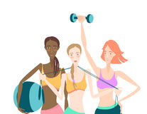 Group of Beautiful smiling young women standing holding fitness. Vector illustration Group of Beautiful smiling young women standing holding fitness dumbbel Royalty Free Stock Image