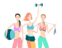 Group of Beautiful smiling young women standing holding fitness. Vector illustration Group of Beautiful smiling young women standing holding fitness dumbbel Stock Images