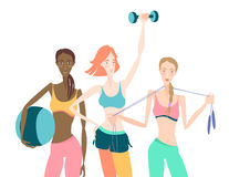 Group of Beautiful smiling young women standing holding fitness. Vector illustration Group of Beautiful smiling young women standing holding fitness dumbbel Royalty Free Stock Photo