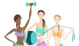 Group of Beautiful smiling young women standing holding fitness. Vector illustration Group of Beautiful smiling young women standing holding fitness dumbbel Stock Photos