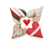 Group of beautiful valentine hearts on a white background Stock Photography