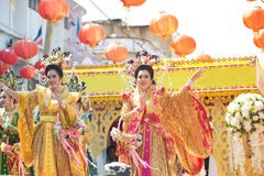 Group of Beautiful woman angel show on parade in Chinese New Year. Stock Image