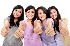 Group of beautiful women with thumbs up Royalty Free Stock Photography