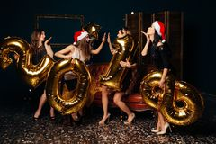 Dancing Girls at New Year party Stock Photography