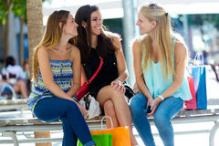 Group of beautiful young girls in the street. Shopping day. Royalty Free Stock Photo