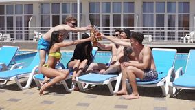 Group of beautiful young people drinking cocktails and having fun at the swimming pool. Slowmotion shot stock video