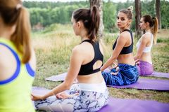 A group of beautiful young women doing yoga together.  stock photography