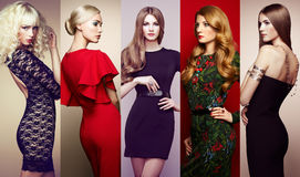 Group of beautiful young women. Fashion collage. Group of beautiful young women. Sensual girls posing in studio. Lady in elegant dresses royalty free stock photo