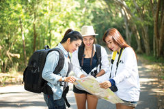 Group of beautiful young women walking in the forest,. Enjoying vacation, travel concept royalty free stock photography