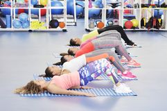 Group of beautiful young women working out Royalty Free Stock Photography