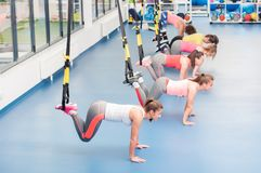 Group of beautiful young women working out on TRX.  royalty free stock images