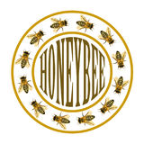 Group of bee or honeybee in the circle with text Royalty Free Stock Photography