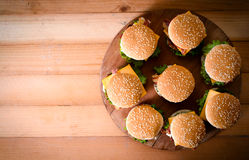 Group of beef burgers Royalty Free Stock Photo