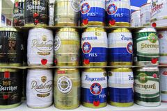 Group of beer cans Royalty Free Stock Photo