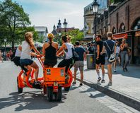 Group beer cycle transport vehicle in Munich, Bavaria, Germany royalty free stock photography