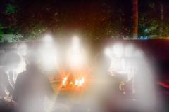 Group of believers gathered nights and formed circle around cand. Eleusinian mysteries, all-night vigils. A group of believers gathered on sundeck and formed Royalty Free Stock Images