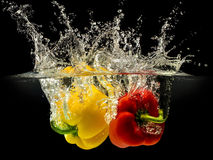 Group of bell pepper falling in water with splash on black background Stock Images