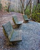 Group of Benches Looking in Same Direction. At a scenic overlook in the Great Smoky Mountains National Park royalty free stock image